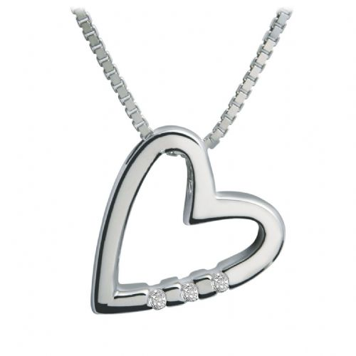 Hot Diamonds Sterling Silver Just Add Love Head Over Heels Heart necklace DP007